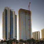 Image of highrise condominiums under construction in Sunny Isles Beach Florida USA