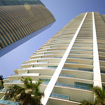 Ground angle view of highrise architecture in Miami FL