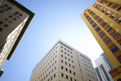 Low angle view of midrise office buildings at Downtown Miami FL