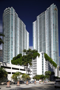 BRICKELL - JANUARY 26, 2017: Image of The Plaza located at 951 Brickell Ave which consists of two highrise skyscrapers on Brickell Bay Drive completed in 2007.