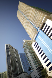 Vertical photo of highrise architecture in Brickell Miami FL