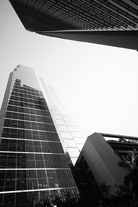 Black and white image of highrise architecture