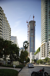 BRICKELL - JANUARY 26, 2017: Vertical image of the Panorama Tower under construction visible from Brickell Bay Drive set for late 2017 completion.