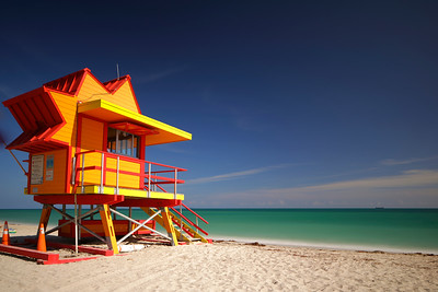 Miami Beach orange lifeguard station