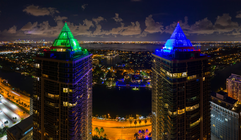 Blue and Green Diamond residential condominiums Miami Beach night photo
