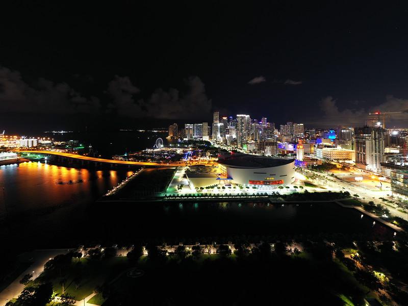 Aerial night photo Miami Dade Florida USA
