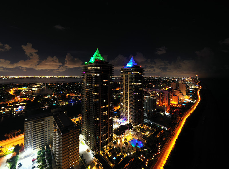 Aerial photo Blue and Green Diamond Miami Beach luxury condominiums
