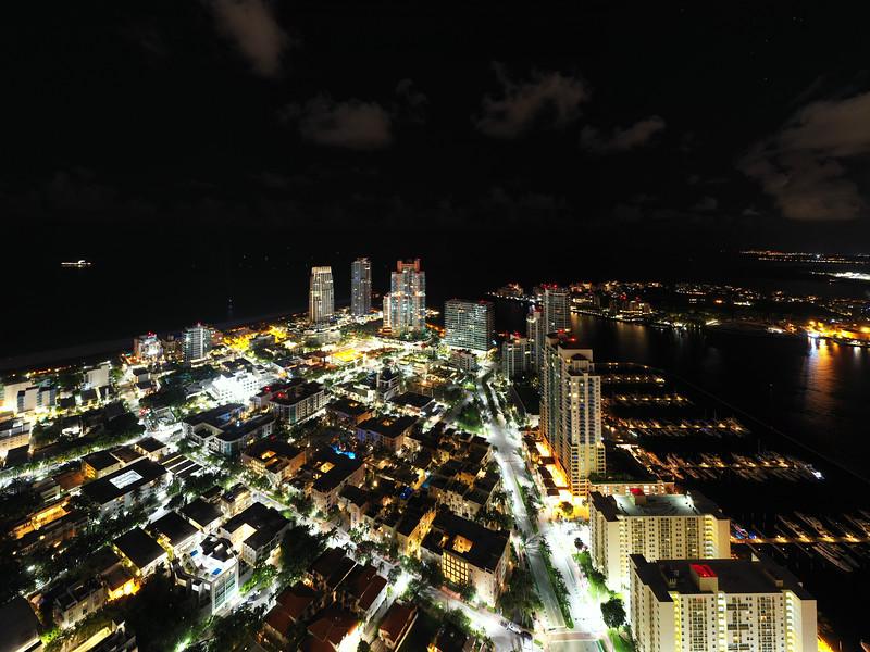 Aerial night photo Miami Beach south of 5th street neighborhods