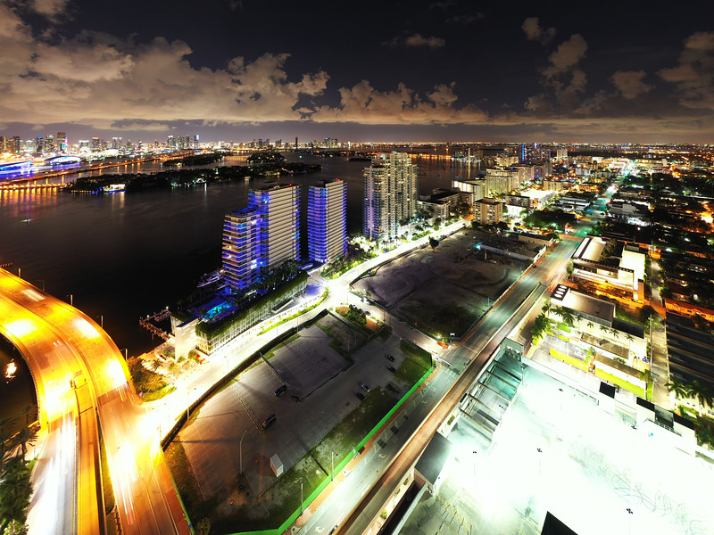 Aerial night photo Miami Beach land development on Alton Road and 5th through 7th Street