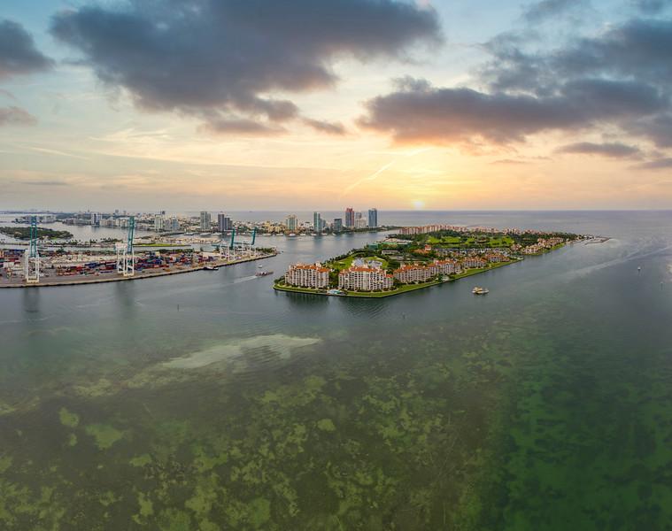 Aerial photo Fisher Island Miami Beach Biscayne Bay FL USA