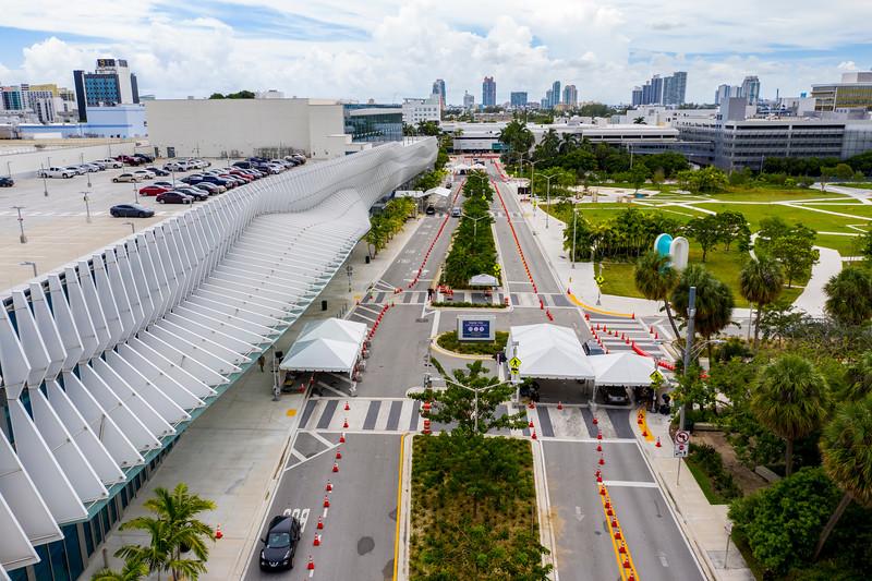 Coronavirus Covid 19 testing site Miami Beach Convention Center aerial photo