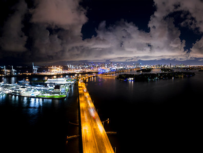 Aerial photo Miami Macarthur Causeway view of port and Downtown