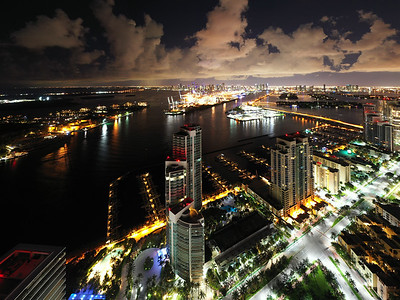 Night lights City of Miami view of bay and port