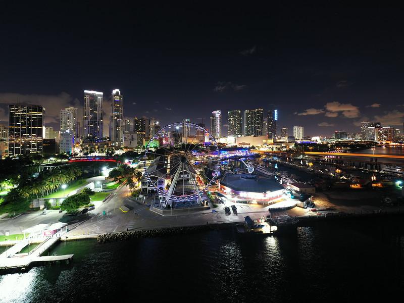 Night aerial photo Bayside Marketplace Miami long exposure