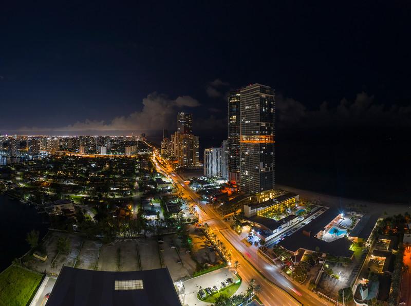 Aerial night image Miami Dade Sunny Isles Beach FL