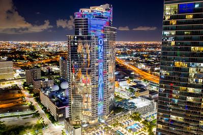 Night aerial photo Paramount Miami Worldcenter illuminated at night cityscape