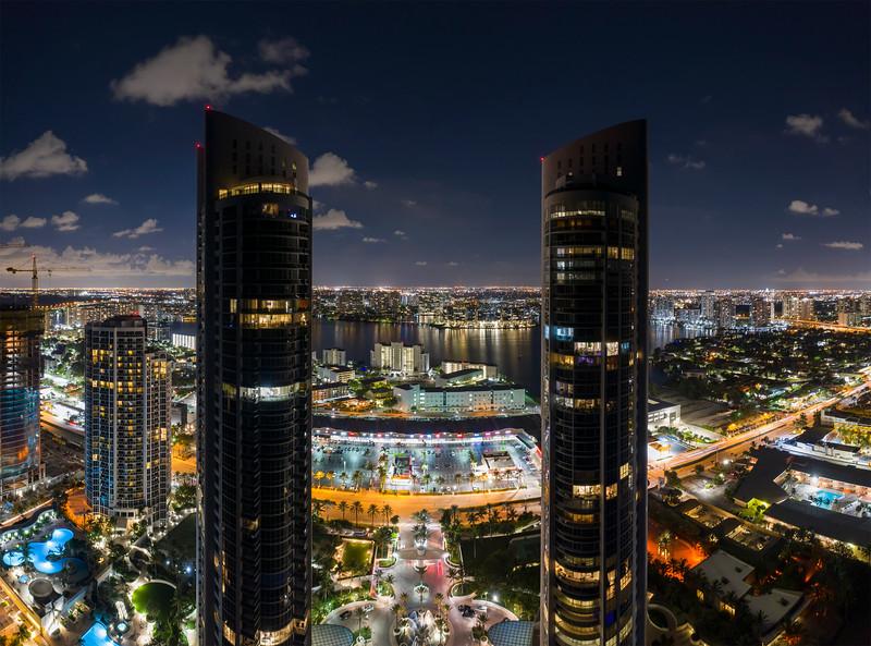 Aerial photo Trump Towers Sunny Isles night photo