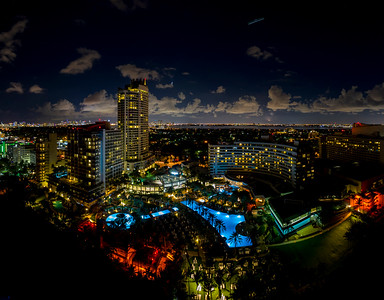 Aerial night photo Fontainebleau Hotel Miami Beach Florida USA