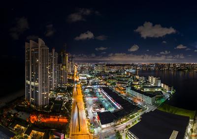 Night aerial photo Miami city lights