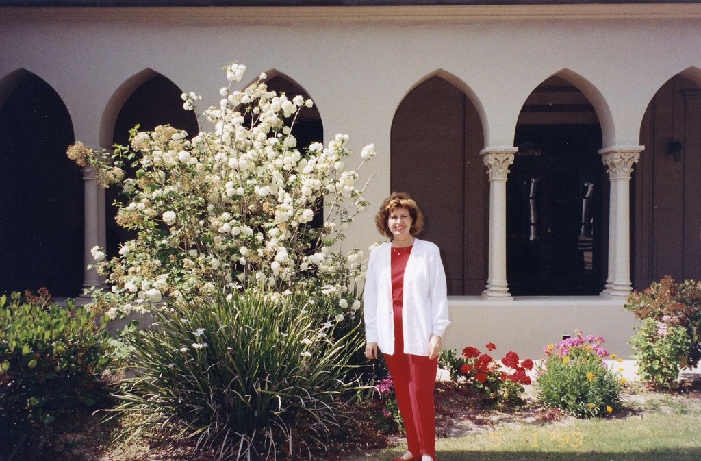 Betty outside building at Visit to St. John's Seminary in 1993.jpg