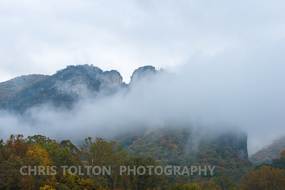 Seneca Rocks in Low Clouds