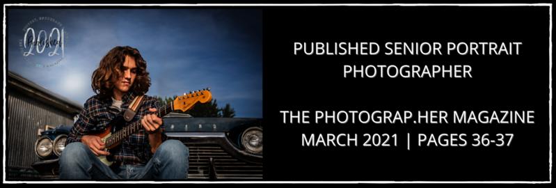 Published Senior Portrait Photographer The Photograp.her Magazine March 2021   Pages 36-37