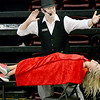 "KEVIN HARVISON | Staff photo<br /> Marty ""The Magician"" Westerman performs his levitation trick with the help from a spectator in the audience at the Pittsburg County Free Fair Friday."