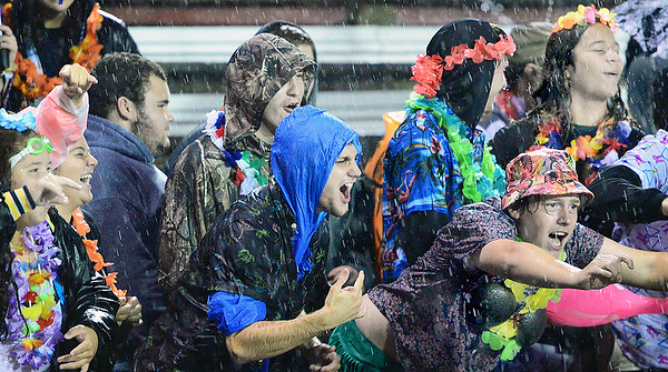 KEVIN HARVISON | Staff photo<br /> McAlester faithfull fans braved the elements to cheer on the McAlester Buffaloes varsity football team to a home victory over the Durant LIons Friday at Hook Eales Stadium.