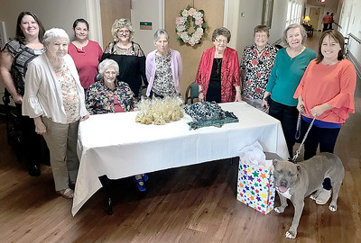 KEVIN HARVISON | Staff photo The Van Buren House donated hand made doggie toys and treats to the Pittsburg County Animal Shelter. Pictured from left, Bethan Daniel, Director of Van Buren House, Edna Reed, Kim Rochell, Van Buren House Activities Coordinator, Alma Crouch, Tina Thompson, Van Buren House Hair Dresser, Bonnie Waldrop, Calista Hawkins, Martha Martin, Margorie Pisachubbe and Pittsburg County Animal Shelter Director, Michele Van Pelt. Residents not pictured and helping with the project include, Mary Ellis, Tookie Hart, Mary Williams, Barbara Turner and Fora McKee.