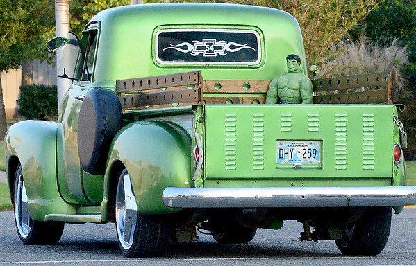 Kevin Harvison | Staff photo<br /> This vintage green pick up muscled down Choctaw Avenue during Saturday nights Cruise Night event in McAlester.
