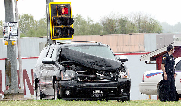 Kevin Harvison   Staff photo <br /> Pictured is one of the vehicles involved in a two vehicle accident at the intersection of 6th Street and Carl Albert Parkway Thursday morning.