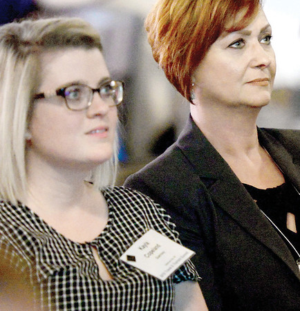 KEVIN HARVISON | Staff photo<br /> Janet Smith, Blackwell City Manager, listens during the Oklahoma's Lt. Gov. Travel and Tourism Summit about Top 10 Ways to Imporve Your Website at the Venue in McAlester.
