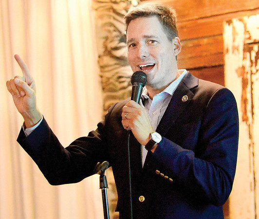 KEVIN HARVISON | Staff photo<br /> Oklahoma's Lt. Governor Matt Pinnell, speaks during a Town Hall Meeting as part of the Oklahoma's Lt. Gov. Travel and Tourism Summit at the Venue in McAlester.
