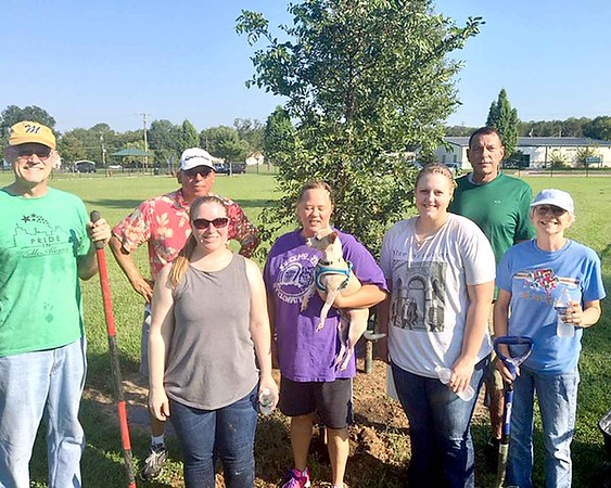 SUBMITTED PHOTO | MEGAN WATERS<br /> National Planting Day took place over the weekend. Volunteers with Pride In McAlester planted 7 Lace Bark Elm trees at Central Bark Dog Park. Pictured are some of the volunteers participating, Steve Harrison, Patty Harrison, Ed Choate, Nancy Mills, Tim Mills, Elizabeth Smith and Stephanie Giacomo.