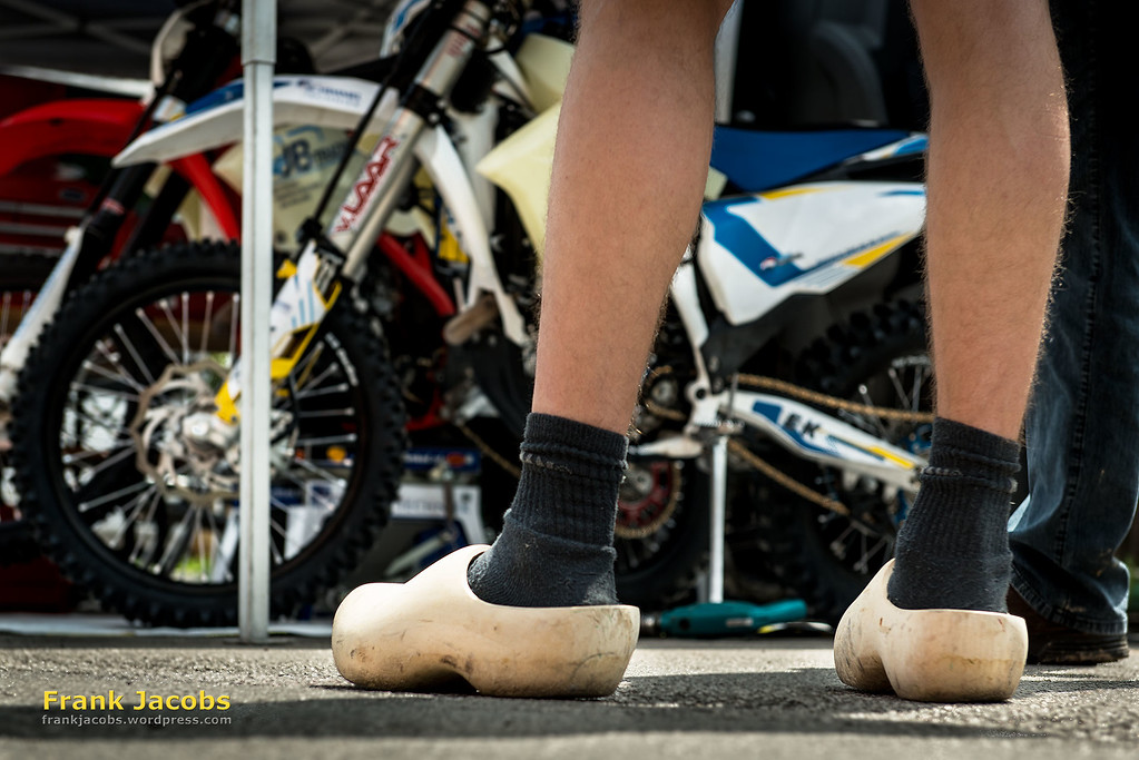 This is an international event. Alex Van Ginkel promoting local Dutch shoewear.