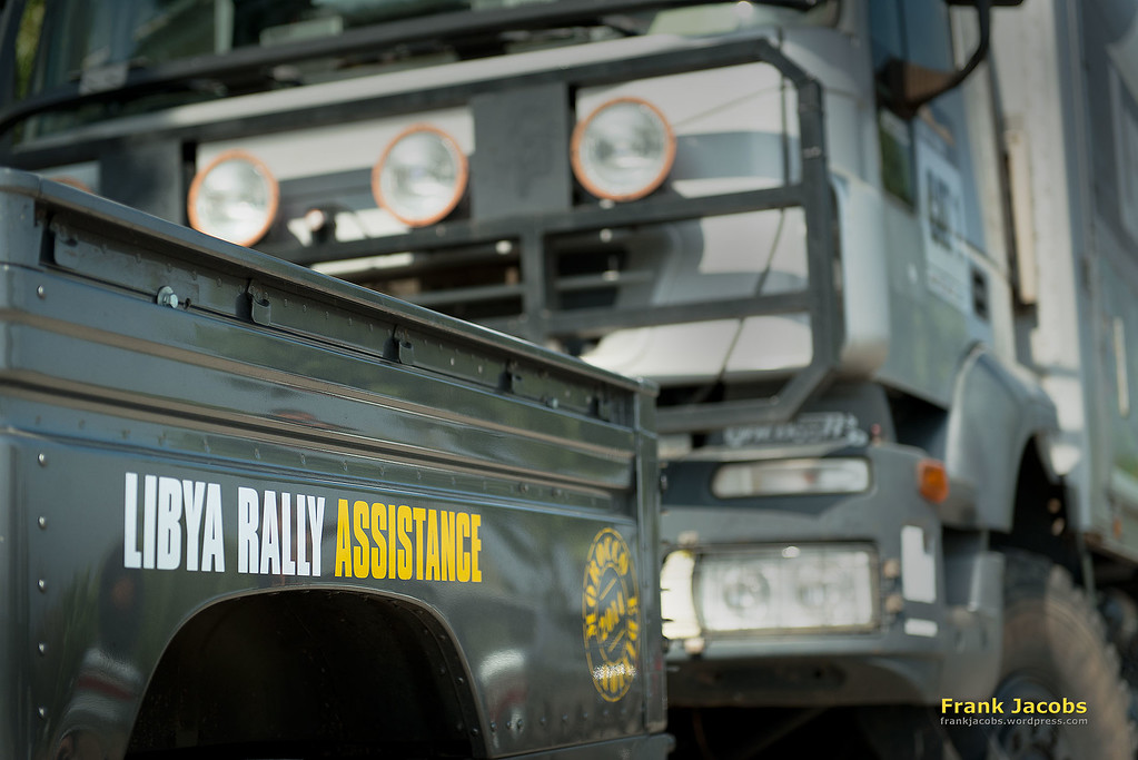 The Libya Rally Assistance Team has several cars and trucks, called sweepers. These powerful vehicules are called to the rescue if any major damage occurs or team members get stuck in i.e. desert sand. We'll see them in action often later on.