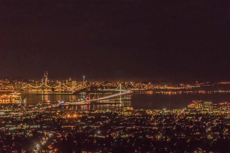 SF & the Bay Bridge lit up