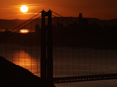 Golden Gate Bridge silhouette just after sunrise with the new Salesforce Tower visible in the background. Taken with the @getolympus E-M1 MKii, @nisifiltersusa reverse grad and supported with the @reallyrightstuff TVC-24L tripod and BH-55 ball head. #CapturingSanFrancisco #sunrise #GoldenGateBridge