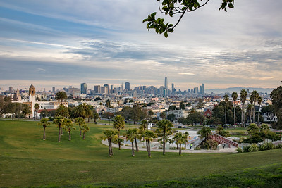 Dolores Park with San Francisco Skyine in the Background