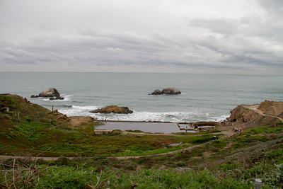 View from the Land's End visitors' center over Sutro Baths.