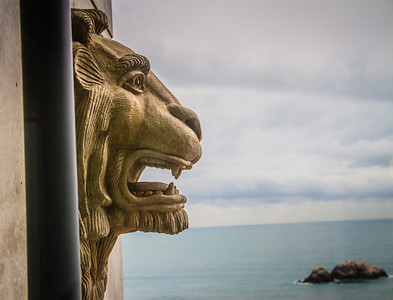Lion standing guard, watching Seal Rock