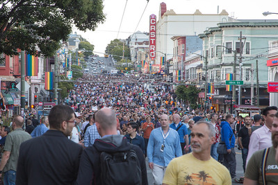 Looking at the crowd on Castro Street as we headed home.