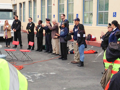 At the opening of the 2014 San Francisco City-wide NERT Drill Supervisors Weiner and Chiu joined Fire Chief Joanne Hayes-White and Police Chief Suhr in welcoming the volunteers.