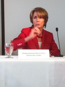 Rep. Pelosi in action during the panel discussion.