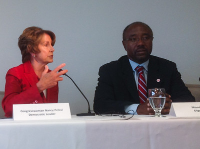Rep. Pelosi during the panel discussion.