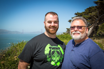 Cody and Terry at Point Lobos.  Golden Gate Bridge is in the background.