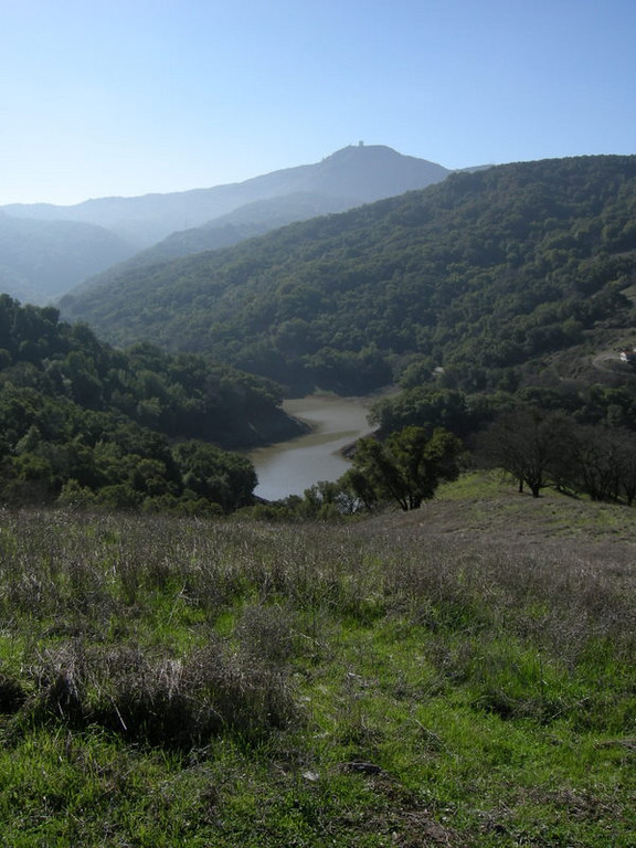 Looking into the mountains at the Almaden reservoir