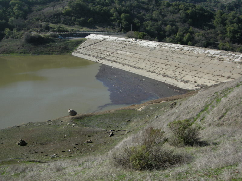 Almaden reservoir - still very low even after the storms, and lots of debris.