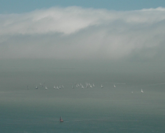 Sailboats below the Golden Gate