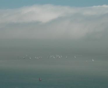 Sailboats below the Golden Gate